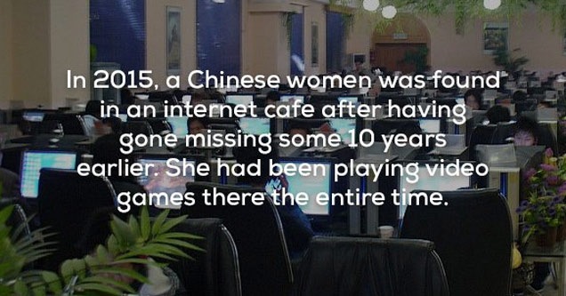 people in a video game cafe with text about a woman missing for 10 years who was there the whole time