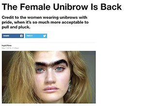 Vice article about the return of the female unibrow