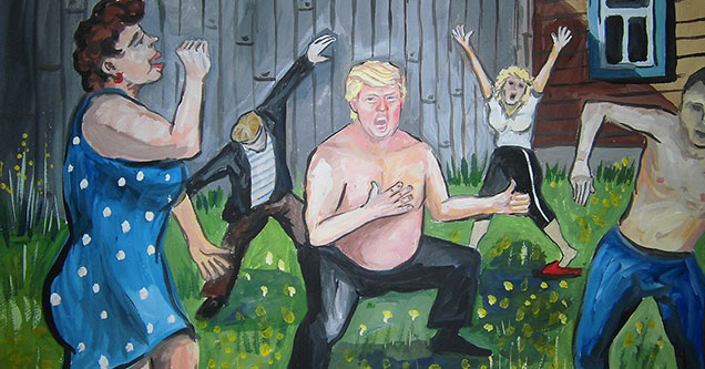 painting of Donald Trump with his shirt off