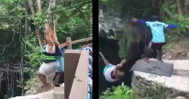 a heavy set woman on a zip line loses her grip and falls off a cliff