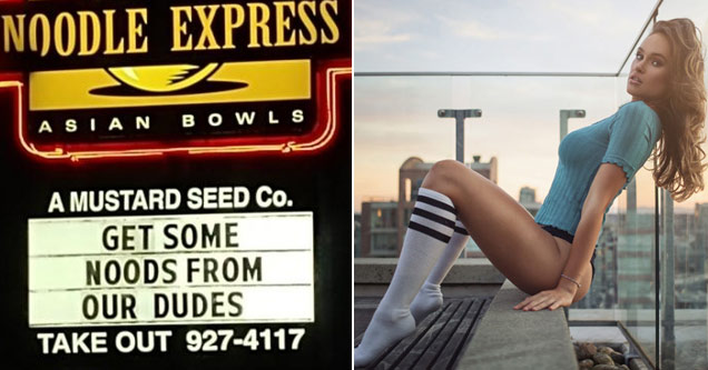 a sign for a noodle express  that says get noods from our dudes a hot girl in knee high socks and blue shirt sitting on edge of building