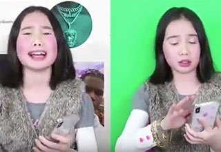 lil tay in front of a green screen