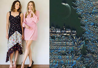 Aubrey Plaza and Elizabeth Olsen standing in a room smiling, a boat pulling out overhead view from a lot of other boats
