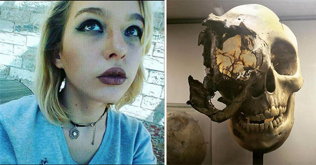 a woman in a blue shirt and a human skull