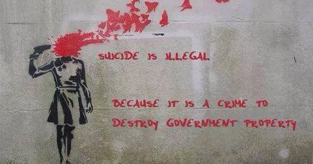 street art about killing government property