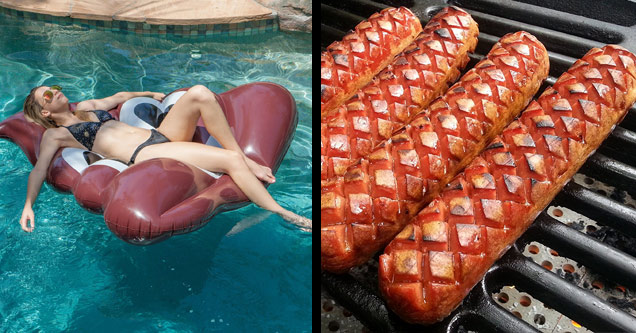 a girl on a poop emoji pool raft and hot dogs with perfect grill marks