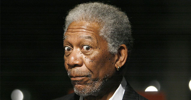 Morgan Freeman looking wide eyed into the camera