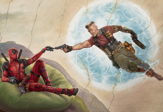 a painting of david and God but with deadpool and cable