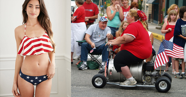 patriotic hot lady and patriotic not lady