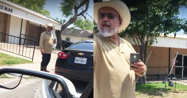 racist texan blocks a car and rants