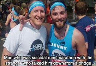 a man runs a marathon with the person he saved from suicide