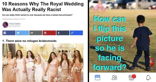 a buzzfeed style article about the royal wedding being racist for lack of refugees