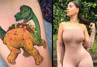 a tattoo of a dinosaur taco and a curvy brunette in tight pink dress