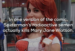 a photo of a red headed woman wearing a spiderman shirt with text about radioactive semen
