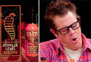 peppers indicating the heat of a hot sauce, johnny knoxville looking in pain