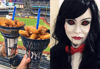 chicken tenders set at the top of a drink in a baseball stadium, a lady cosplaying as jigsaw from saw