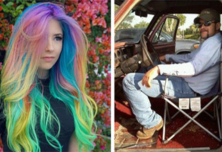 a girl with rainbow colored hair and a man driving his truck with a folding chair as the drivers seat