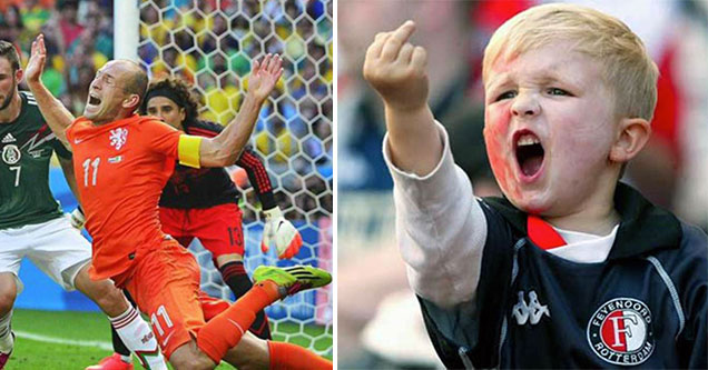 little kid flipping off a soccer player