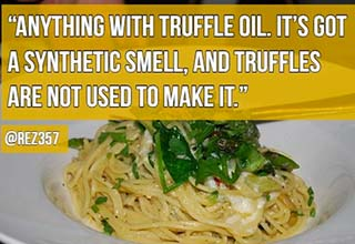 a pasta with truffle oil
