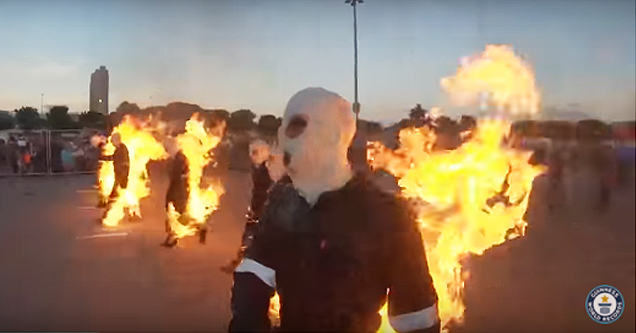 Guinness World Records: Most people performing full body burns.