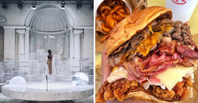 a lady standing in a white art exhibit, a sandwich from arby's with every meat on it