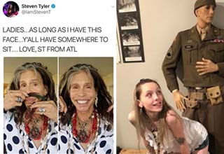 stephen tyler putting hair on his face, a lady bending over in front of a wax figure of a soldier
