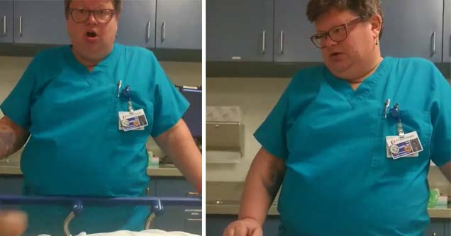 lady looking angry toward the camera in scrubs in the hospital