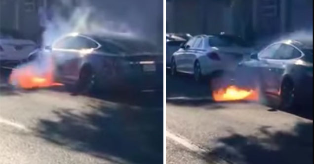 tesla model s catches on fire in San Francisco