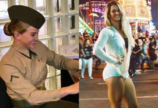 a woman in military uniform next to a photo of her in tight short shorts and jacket