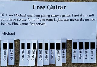 free guitar ad on paper