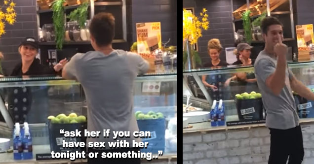 a guy talking to a female cashier and his friend  yells out ask her to have sex tonight