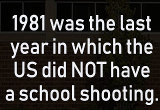 a photo of a school with text about the US having a school shooting every year since 1981