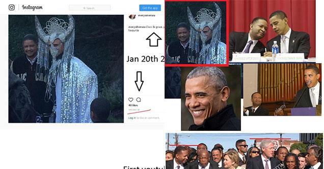 obama wearing a demonic headdress conspiracy