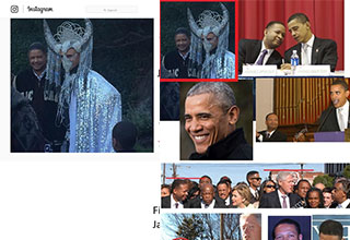 obama wearing a demonic headdress conspiracy