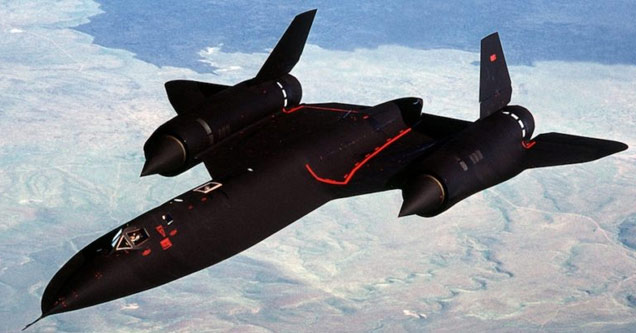 a sr71 blackbird flying high above the mountains
