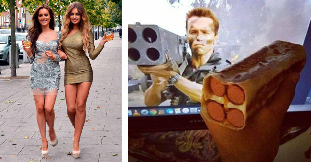 two good looking brunette women in tight dresses and arnold schwarzenegger holding a rocket launcher