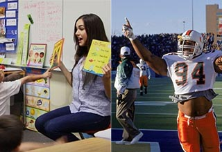 sasha gray reading a book to preschoolers and the rock playing football at miami