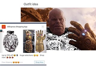 thanos wearing an anime hoodie that was advertised on aliexpress