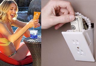 lady holding sunscreen pouring into a glass, an outlet opening to money and jewelry