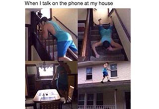 a guy crawling around his home while on the phone, a button that says