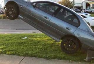 car stuck on a powerline