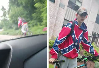 kid in a confederate jacket is chased down in a car