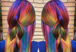 a girl with very colorful hair