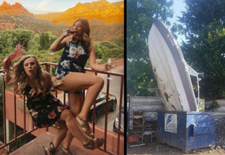 a girl falling down with a glass of wine and a boat standing upright in a dumpster