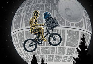 c3p0 and r2d2 riding a bike in front of the death star like ET