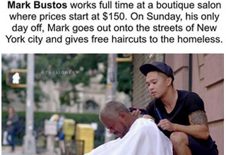 a barber volunteers to cut homeless peoples hair for free