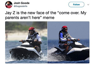 jay- riding a jet ski with a helmet on