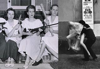 women sitting on a porch holding guns, a man carrying a mannequin threw the streets of japan