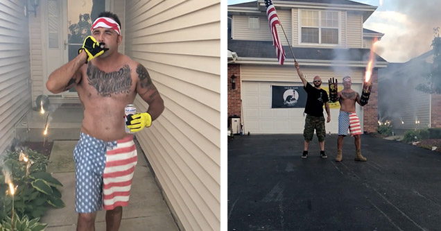 A man wearing American flag shorts and an American flag headband is smoking a cigar, drinking a beer, and walking off the porch of his house on the fourth of July, 2018. On the right, one man is holding an American flag while the other is lighting off a f