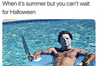 Funny meme of man in Jason mask and knife shilling out by the pool waiting for halloween